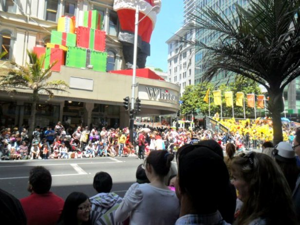 People waiting for the Santa Parade Auckland 2011 to start.