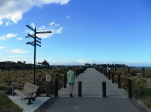 The dune boardwalk gives you access to beautifully planted and cared sand dunes of Caroline Bay.