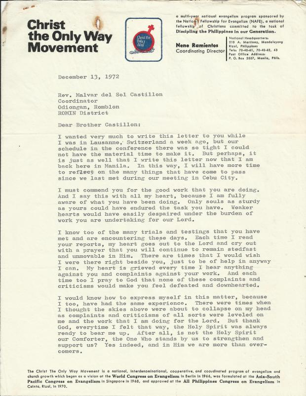 COW Movement - Ramientos to Castillon letter  12-13-1972