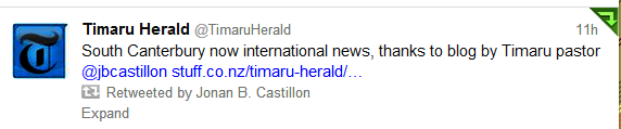 Timaru Herald Tweeted about blog
