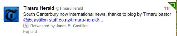 Timaru Herald Tweeted about blog