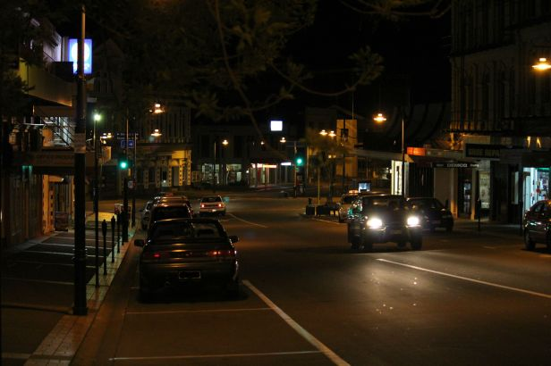 Darkness may envelope but it actually provides perfect background to see where light is, like this night shot of Church Street, Timaru.