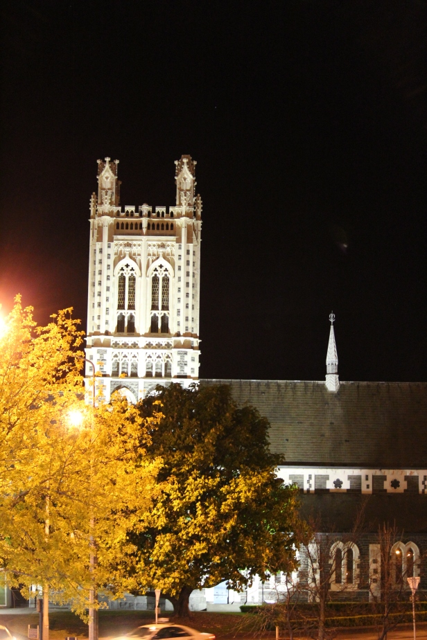 St Mary's (Anglican) Parish Church looks magnificent at night.