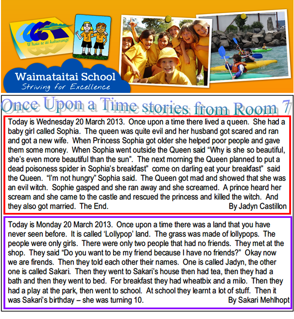 Waimataitai School - Once Upon a Time Stories