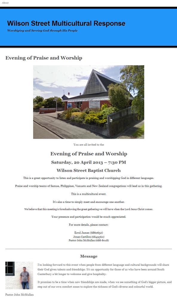 Evening of Praise & Worship   Wilson Street Multicultural Response